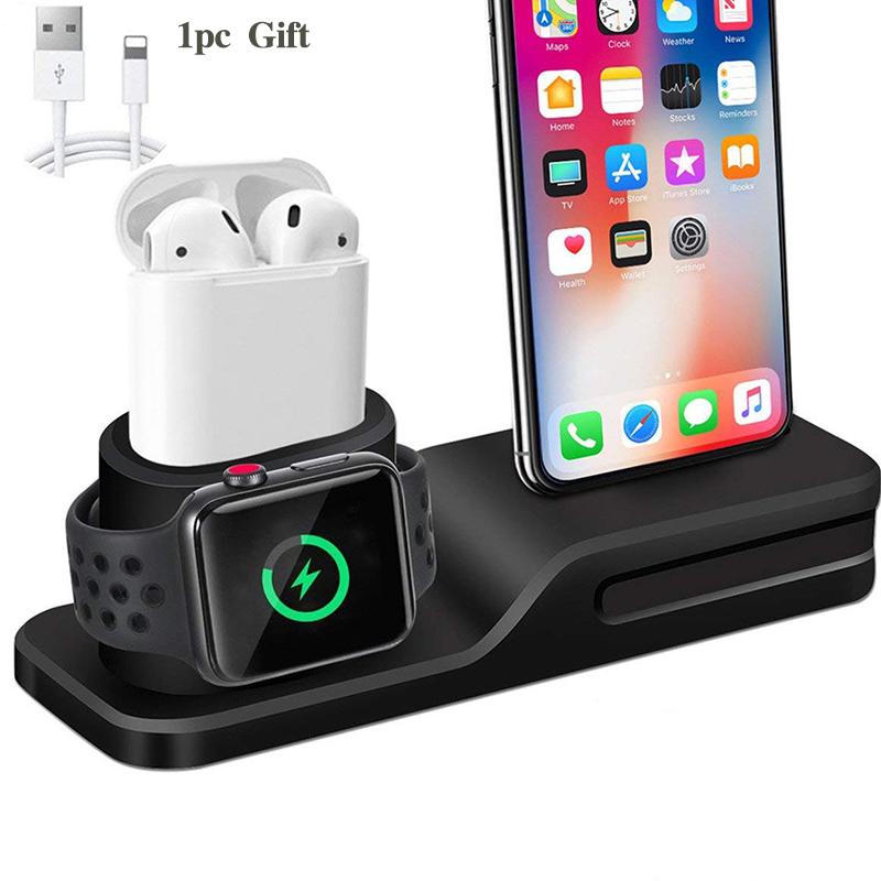 3 in 1 Charging <font><b>Dock</b></font> Holder For <font><b>Iphone</b></font> X <font><b>Iphone</b></font> 8 <font><b>Iphone</b></font> 7 <font><b>Iphone</b></font> 6 Silicone charging stand <font><b>Dock</b></font> <font><b>Station</b></font> For Apple watch Airpods image