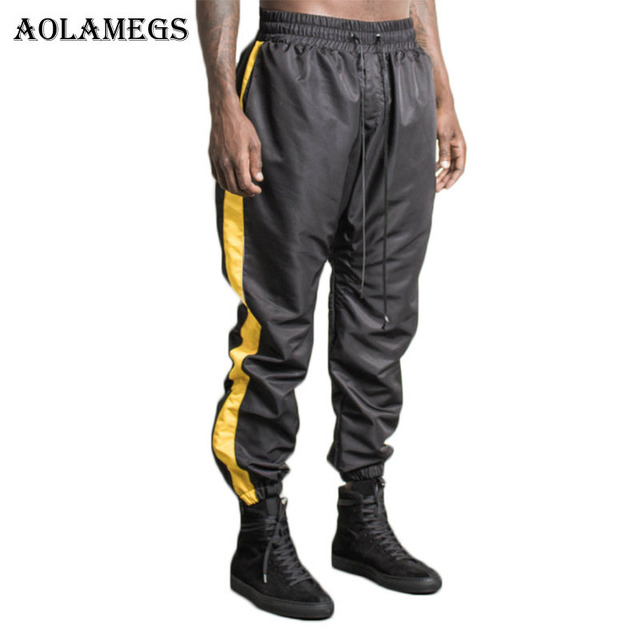 Aolamegs Harem Pants Men Side Zipper Pants Elastic Waist Track Pants  Trousers Mens Kanye Fashion Joggers