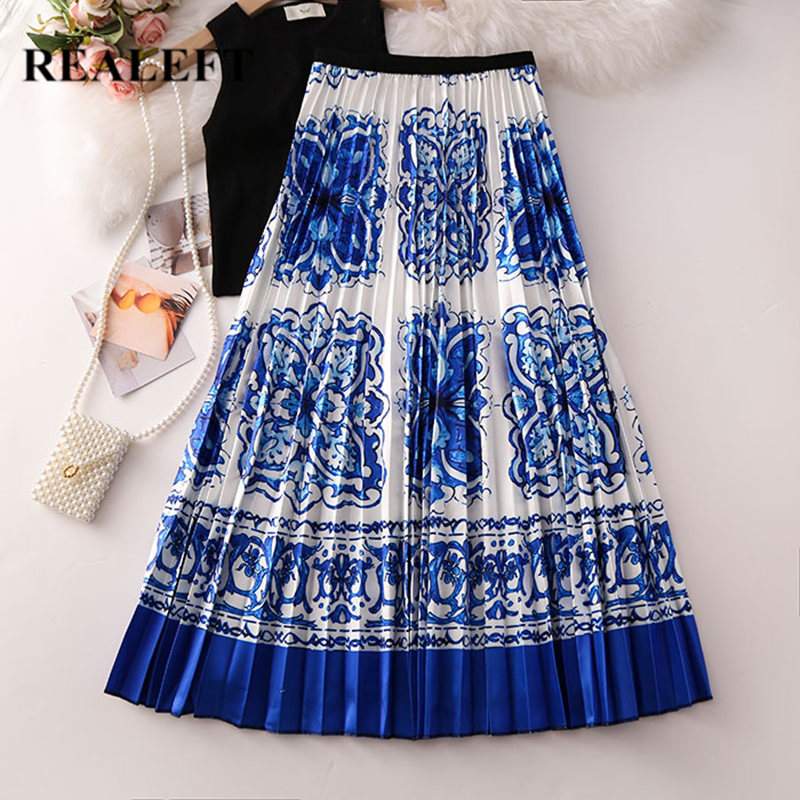 REALEFT Women Floral Printed Vintage Pleated Long Skirt 2019 New Arrival High Waist Harajuku Tulle A-Line Mid-Calf Skirts Ladies