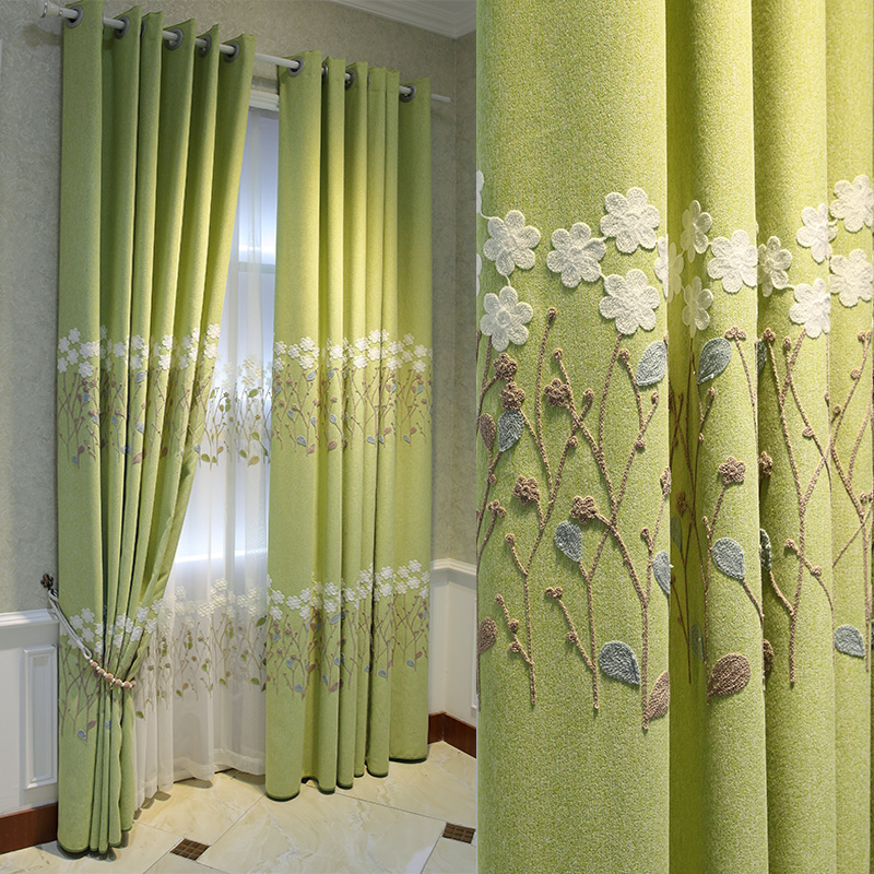 Customized Blackout Curtains for Bedroom Living Room Green Curtain with Embroidery Flower Nordic White Sheer Curtain
