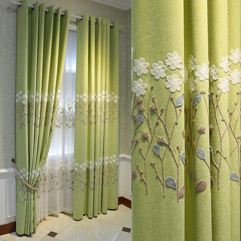 Bedroom Living Room Green Curtain