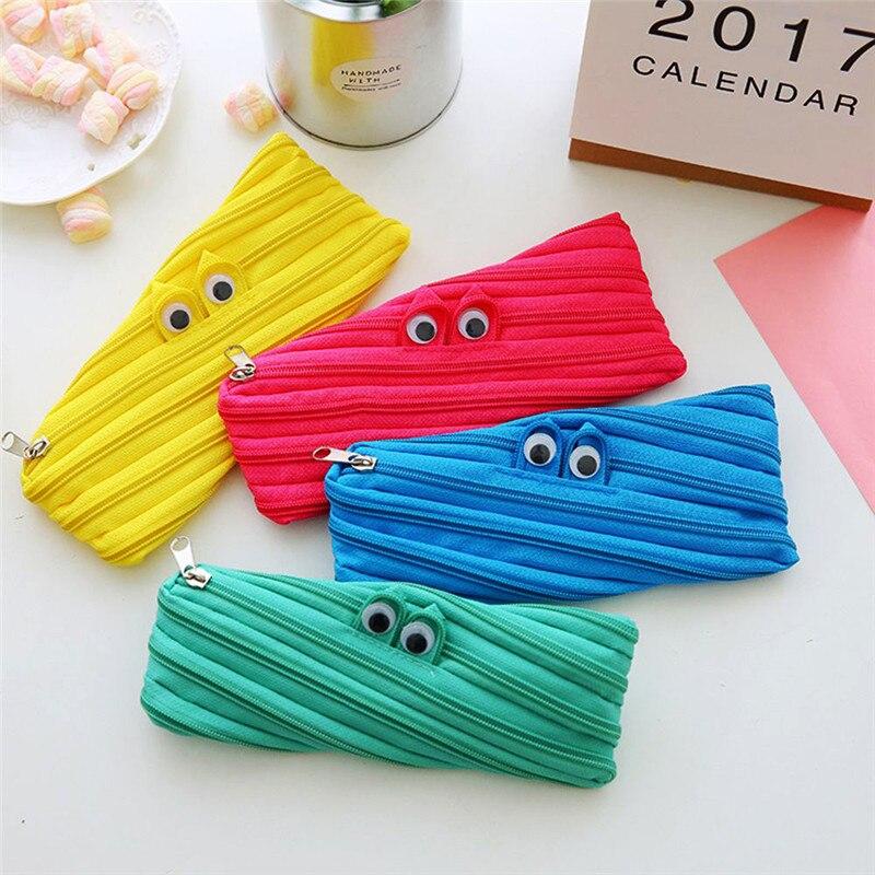 7 Colors Big Eyes Cartoon Style Pencil Case Durable Pen Case Cosmetic Bag School Supplies Kids Stationery Gift Zipper Makeup Bag