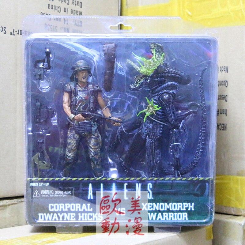 NECA Alien vs Predator 7 Inch Hicks vs Blue Warrior Double Action Figure Set Alien Head Shot S101 цена