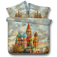 JF162 Magnificent fairytale Russian Castle print Comforter set 5pcs kids single bed in a bag adult queen super king size bedding(China)