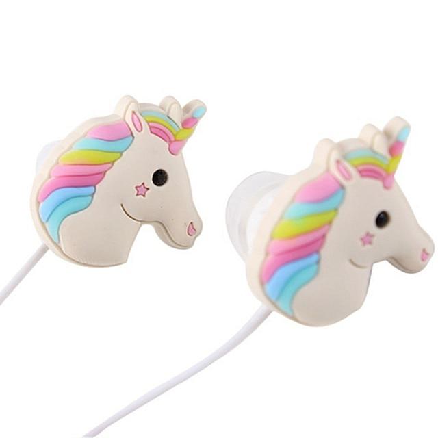 Cute Cartoon Unicorn Wired Earphones With Mic