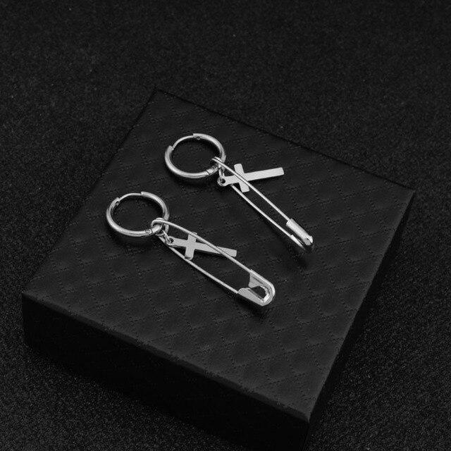 kang daniel Stainless Steel Cross Pin Pendant Stud Earring 4