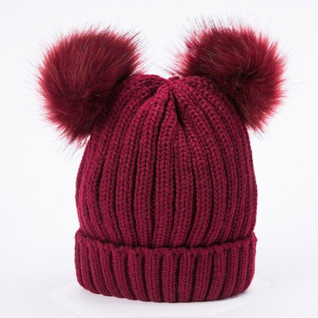 017d54d44ad9b New Knitted Hats Two Pompon Beanie Hats Fur Ball Pom Poms Hats Skullies    Beanies Women Winter Warm Headgear