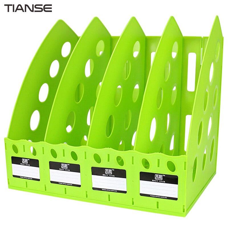 TIANSE TS-1306 Special Design Plastic 4 Section Divider File Rack Multifunctional Home Office Desktop Storage Bookshelf toshiba samsung storage technology ts h552 купить