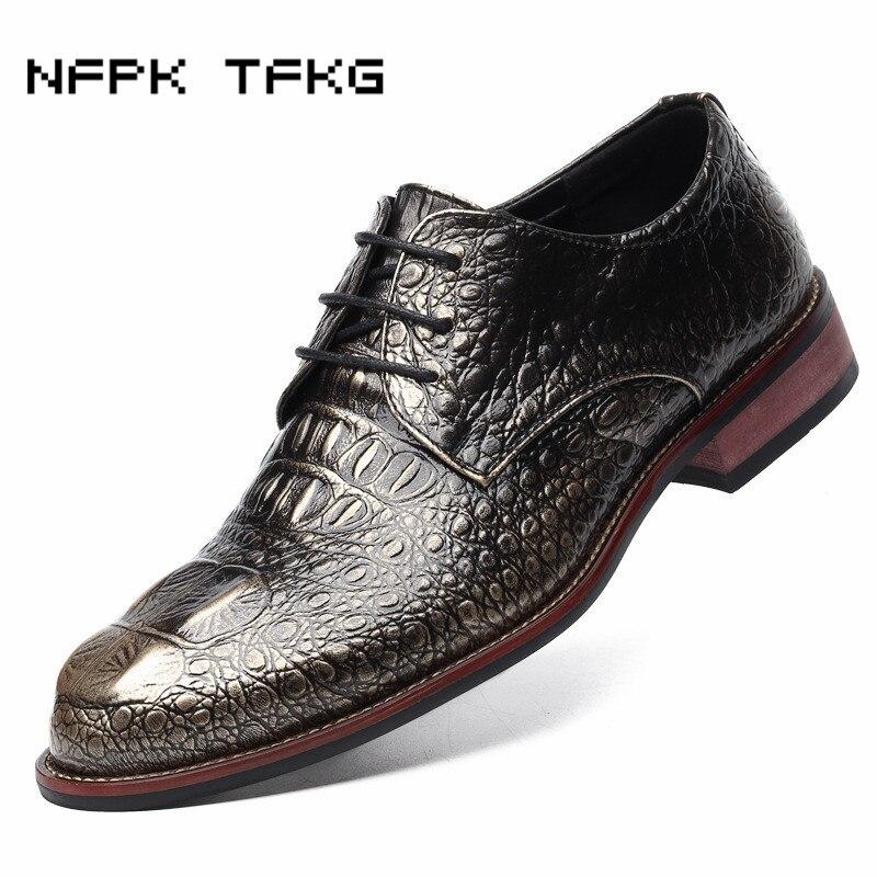 Hommes motif crocodile chaussures en cuir véritable imprimé décontracté richelieu sculpté doux bureau robe de mariée luxe appartements chaussure oxfords homme