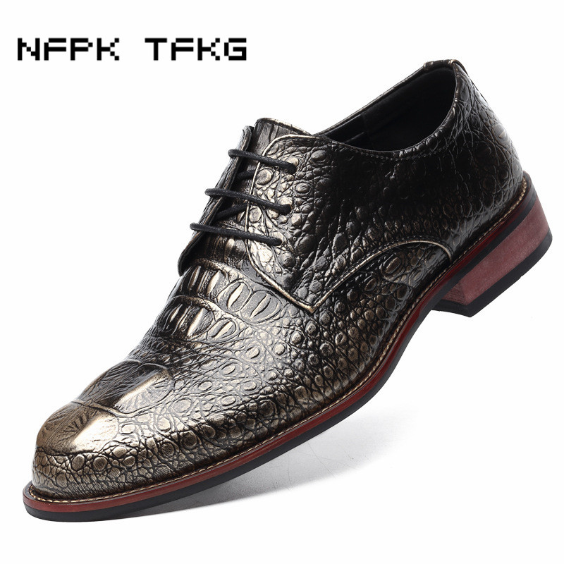 men crocodile pattern genuine leather shoes casual print carved brogue gentle office wedding dress luxury flats shoe oxfords man bullock luxury carved patent leather men shoe business brogue genuine leather casual shoes men flats oxford shoes big size 38 48