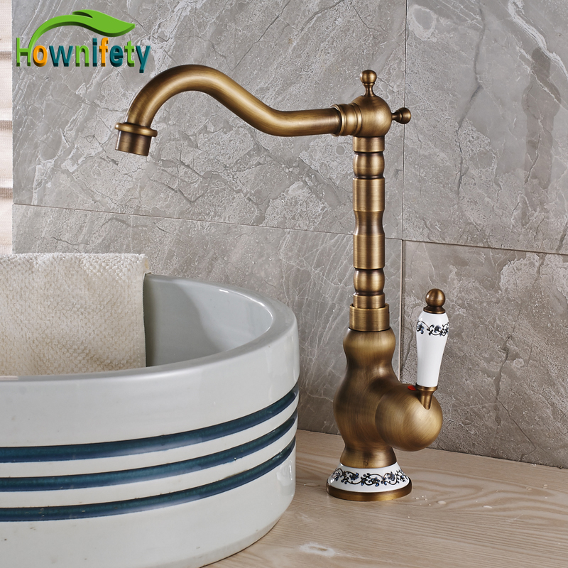 Solid Brass Bathroom Sink Faucet Sngle Handle Countertop Basin Mixer Tap Antique Brass solid brass single handle waterfall spout bathromm sink faucet countertop basin mixer tap antique brass