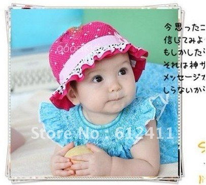 Free shipping/10pcs/lot/soft cotton kids topee baby hats/beach sun hats /baby summer hat/Little Flower Baby Cap