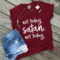 Fashion Short Sleeve T Shirts Women Not Today Satan Letter Print V Neck T Shirt Female