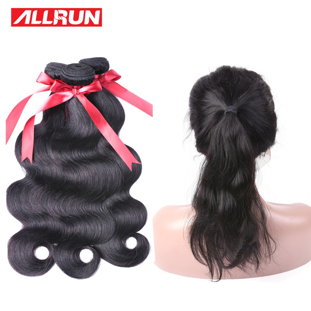 Brazilian Body Wave 360 Lace Frontal Closure With Bundles 3 Bundles Human Hair Weave Allrun Lace Frontal Non remy 4 PCS/lot