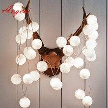 20 штук, недефилированный чистый белый, хлопковые шары, гирлянды, вечерние, декоративные, свадебные, счастливые огни, лампа ручной работы и Запасная лампа