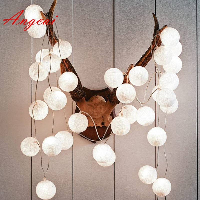 20pcs Undefiled Pure White,Cotton Balls String Lights Party Decor Billg Wedding Happy Lights Handmade Lamp & Spare Bulb