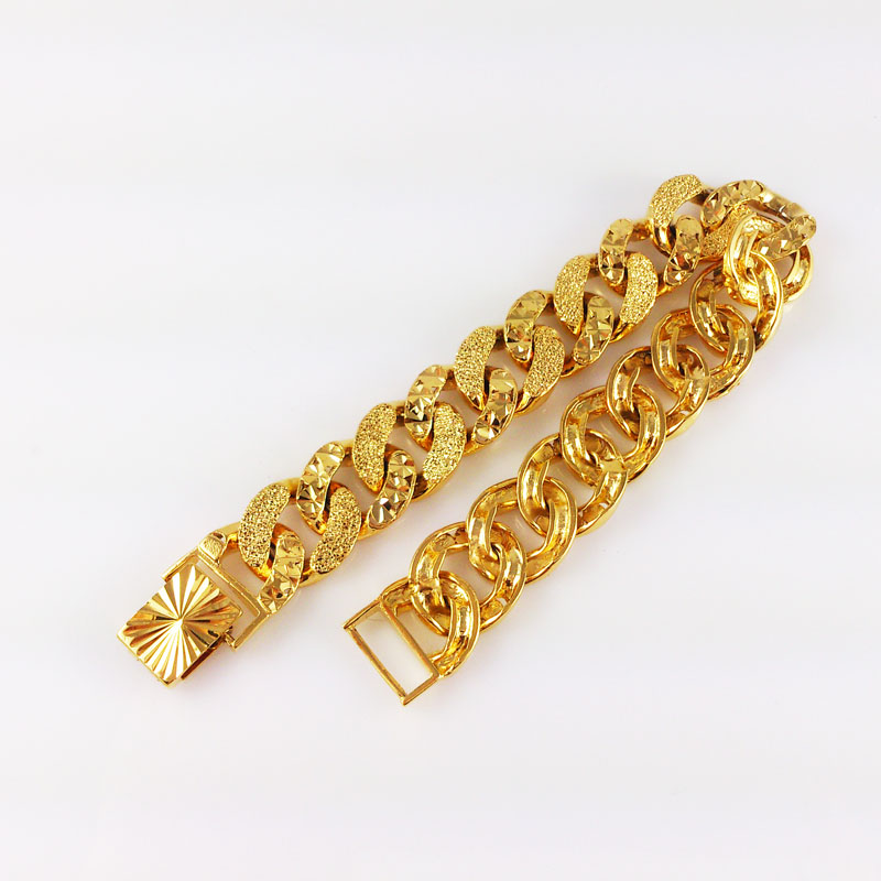 Promotion Gold Color Bracelet Bangle for women Big thick bracelets