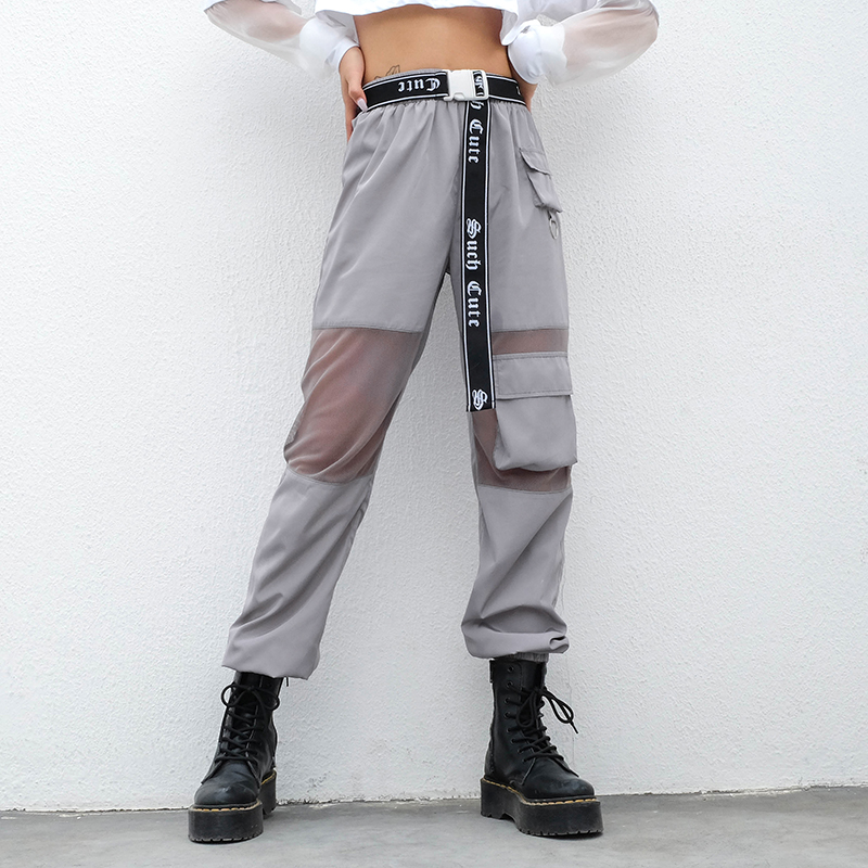 SUCHCUTE Women Pants In A Cage Pocket High Waist Reflective Grey Gothic Korean Style Hippie Joggers Female Korean Style Pantolon