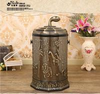 Luxury Brown Open Top Stainless Trash Can With Plastic Bucket Poubelle Salle De Bain For Trash