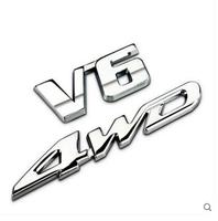 Auto Car Chrome Metal V6 AWD V 6 4wd Trunk Emblem Badge Styling Sticker Fit For