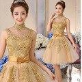 Vestidos de coctel del Oro Apliques de Encaje Vestidos de Coctel Cortos 2016 de Alta Cuello Corto Barato Prom Vestidos de Fiesta robe de cocktail