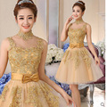 vestidos de coctel Gold Lace Appliques Short Cocktail Dresses 2016 High Neck Cheap Short Prom Party Dresses robe de cocktail