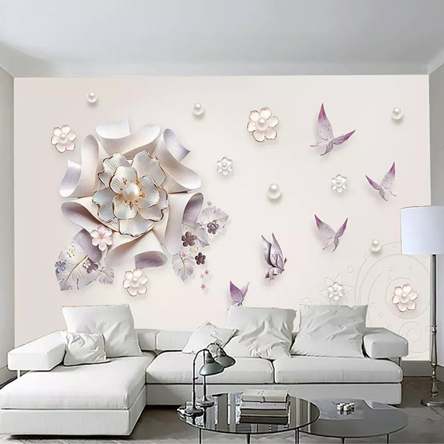 Us 12 21 35 Off Photo Wallpaper 3d Stereo Jewelry Flowers Butterfly Murals Modern Simple Home Decor Background Wall Painting 3 D Papel De Parede In