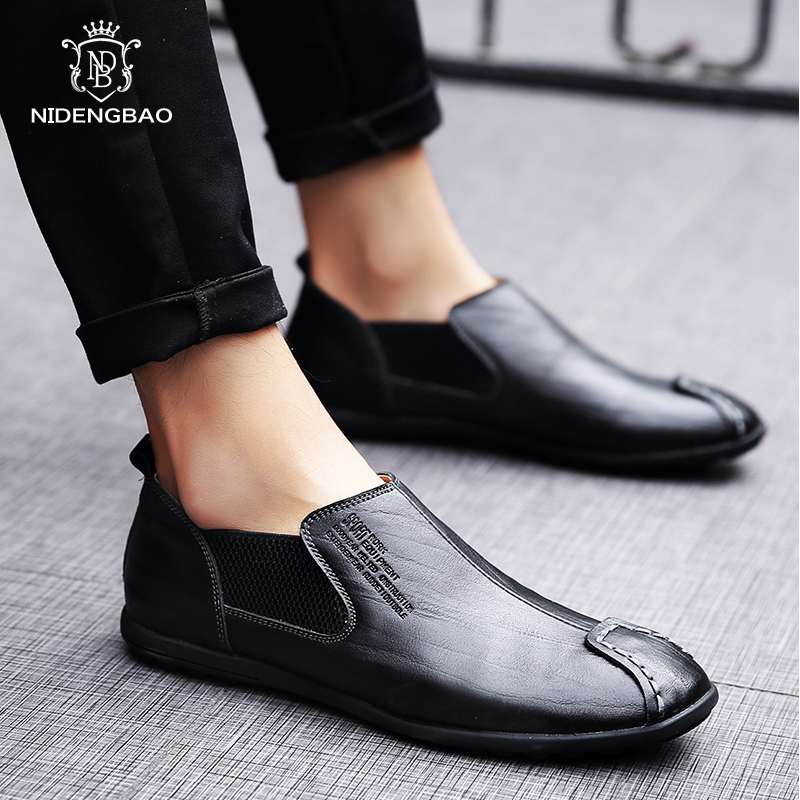 Brand Genuine Leather Shoes Men Big Size 38-46 Slip On Loafers Fashion Quality Business Casual Men Driving Shoes Chaussure Homme