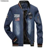 Fashion Winter Denim Jackets Mens Embroidery Design Chaquetas Hombre Warm Fleece Lining Jacket Coat Men Casual