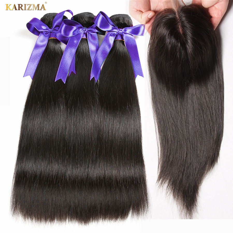 Karizma Peruvian Straight Hair Bundles With Lace Closure Middle Part Natural Black Human Hair 3 Bundles With Closure Non Remy
