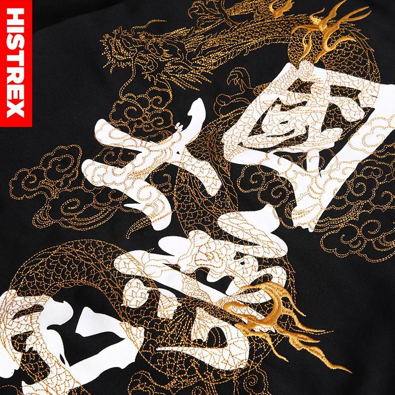 Image 5 - Толстовка HISTREX 2019 Мужская, в японском стиле, с вышивкой, с  принтом китайского Dragon, Кандзи, Харадзюку, в стиле хип хоп, розовая,  большого размера 3XL 4XL 5XLТолстовки и кофты