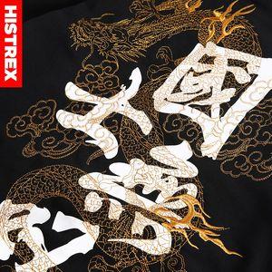 Image 5 - HISTREX 2019 هوديي الرجال النمط الياباني التطريز التنين الصيني طباعة كانجي Harajuku الهيب هوب الوردي بلوزات زائد 3XL 4XL 5XL