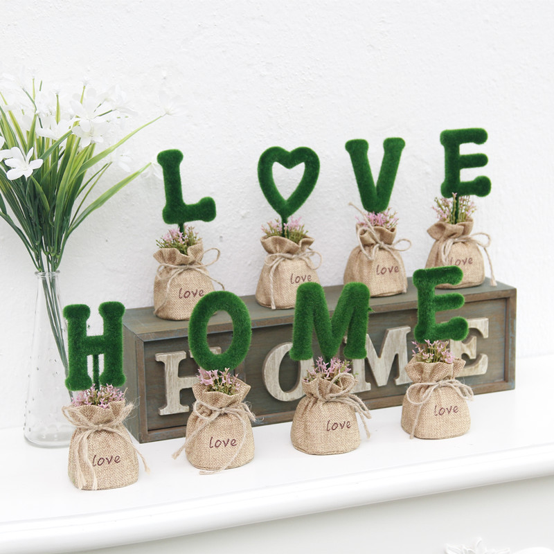 Sac en tissu vert plante Table bureau plante bonsaï Pot de fleur suspendus Pots avec plateau en bois décoration de la maison quatre plantes une boîte