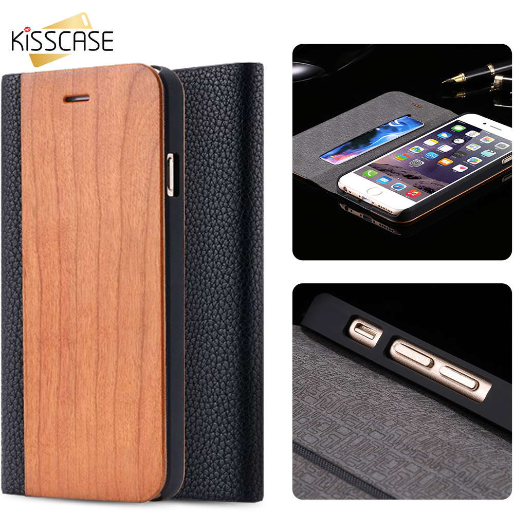 KISSCASE 100% Wood Flip Case For iPhone 6 6S Plus Leather Phone Holder Wallet Cover For iPhone X 6 6s 7 8 Plus Card Capa Fundas