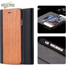 Kisscase Бамбук Дерево флип чехол для iPhone 6 6 S плюс 6 S книга кожаный чехол для iPhone 7 плюс подставка держатель Слот для карты Wallet Case