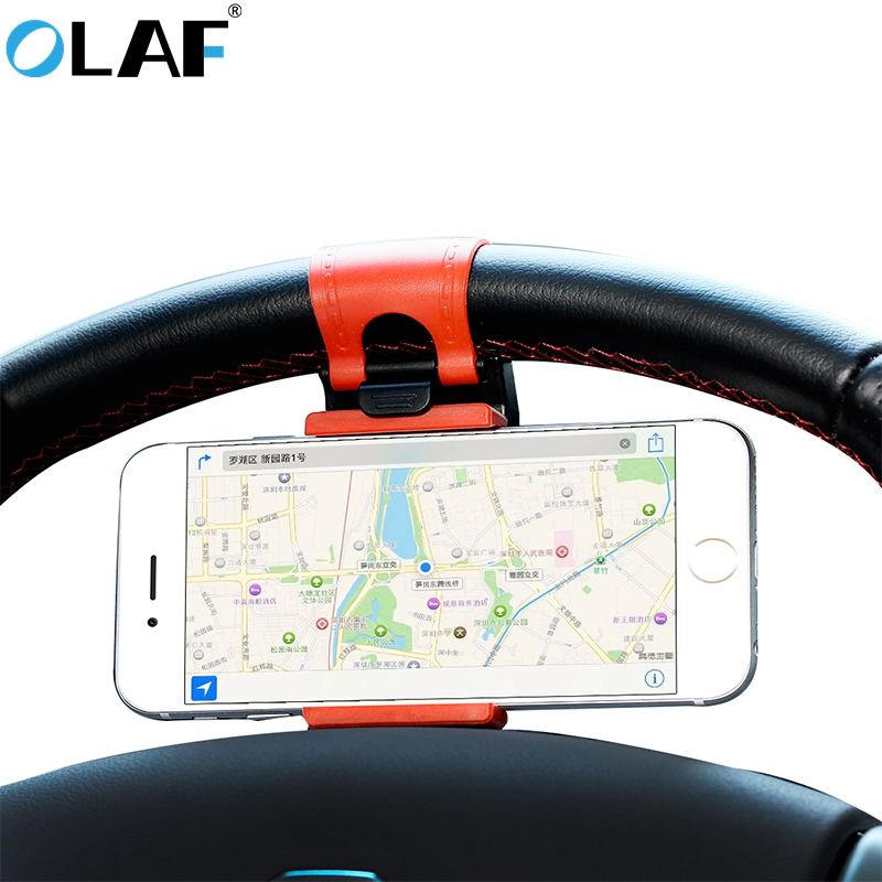 Olaf Universal Car Phone Holder For Iphone 7 8 Plus X 10 Car Steering Wheel Clip Holder For Samsung HTC Support Mobile Phone GPS