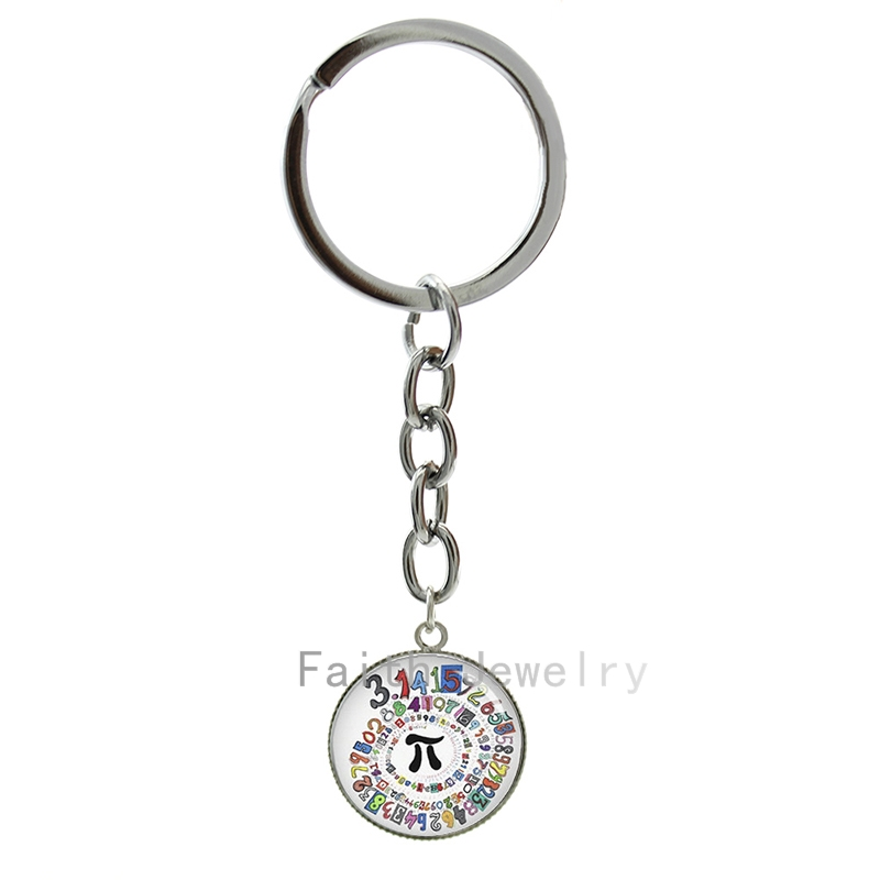 Pion Spiral Round image key chains charm colored repeating decimals spiral round Pion art pture keychain math symbol Pi 1269