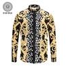 PLstar Cosmos 2018 New Men S Shirt Spring Gothic Shirt Men Luxury 3D Gold Flowers Shirt