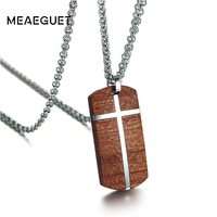 Meaeguet Top Quality Rosewood Cross Necklace For Men Women Wooden Pendants Necklaces Jewelry Stainless Steel Adjustable