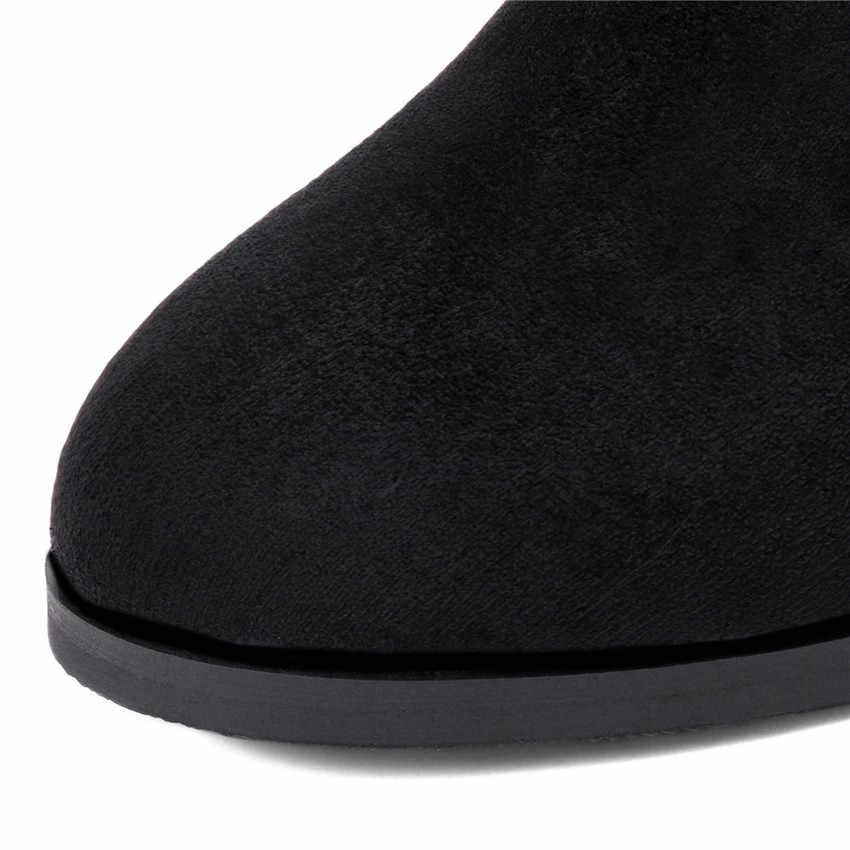 Bahar Sonbahar Kış Kadın yarım çizmeler Patik Yüksek Topuklu Ayakkabılar Kare Kadın kısa çizmeler Artı Boyutu 32 33-40 41 42 43 44 45
