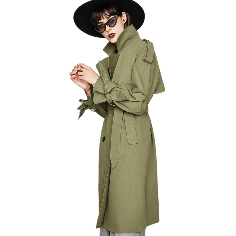 classic   trench   coat women cotton Loose outwear office lady 2018 fall england luxury brand khaki white army green high quality