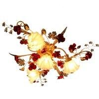 Французский проблемных красный Металлические Розы Гостиная потолочный светильник цветок абажур романтическая Спальня потолочный светиль