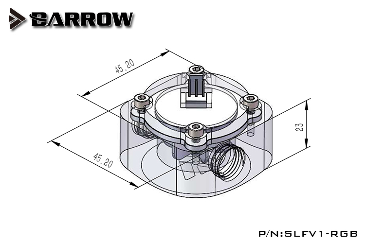 BARROW Water Flow Velocity Meter Water Cooler System Transparent 5V 3PIN 12V 4PIN Header RGB connect to AURA SYNC in Fans Cooling from Computer Office