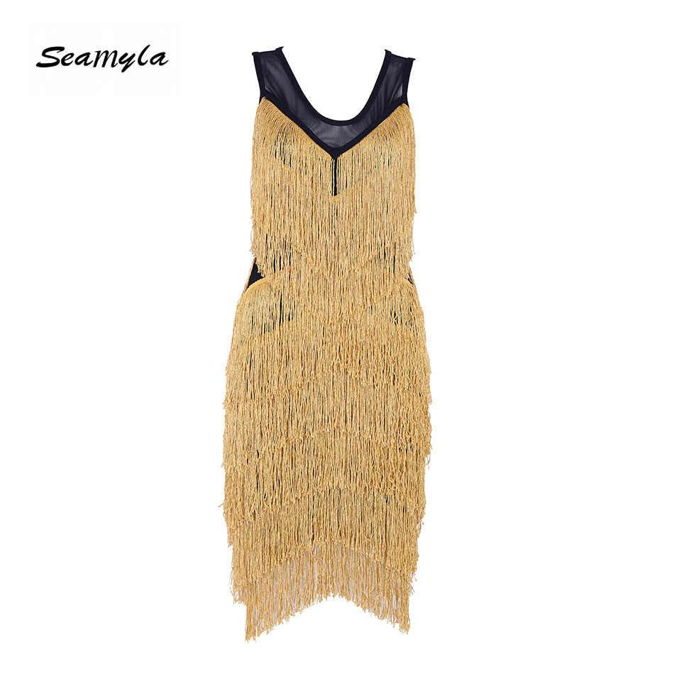 Seamyla Women Bandage Dress Sexy Bodycon Gold Tessals Summer Clubwear Mini  Vestidos New Fringe Celebrity Party b7c393ce5ba7