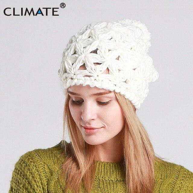 b77613bb17a CLIMATE Women Winter Hat New Warm Pompon Beanie Hat Pierced Knitted Hat  Beanie Women Nice Pompon Warm Beanie For Women Girls