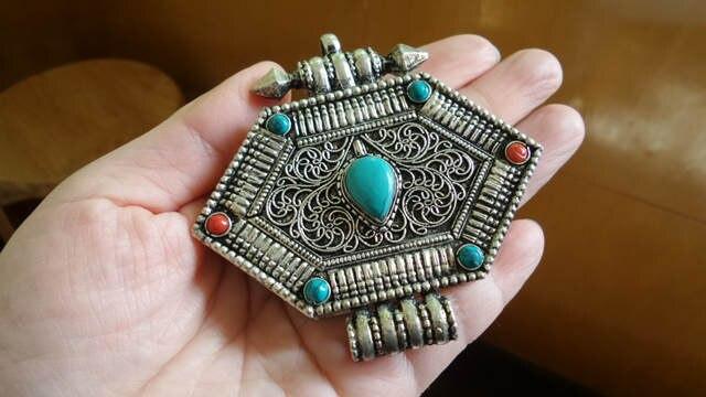TGB106 Тибетский большой молитвенный ящик шестиугольный кулон Тибетский амулет ГАУ для мужчин