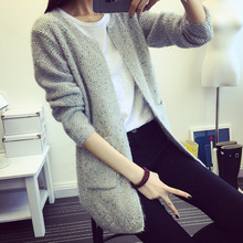 2017 Autumn Winter Women Sweater Warm Mohair O Neck Women Cardigan Long Sleeve Casual Loose Sweater
