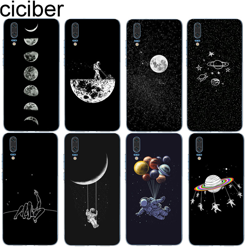 ciciber for Huawei P20 <font><b>P30</b></font> P10 P9 P8 Lite Pro Plus 2017 Soft TPU <font><b>Phone</b></font> <font><b>Cases</b></font> for Huawei Mate 20 10 9 Lite Pro X Cover Star Moon image