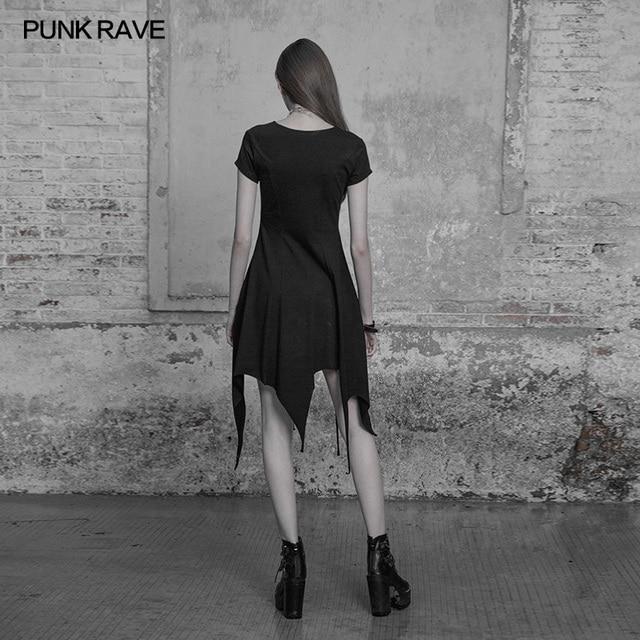 Fashion Irregular Hem Dress Gothic Proper Segmentation Showing Proportion Of Stature Hollow Shoulder Dress PUNK RAVE OPQ-316LQF 3