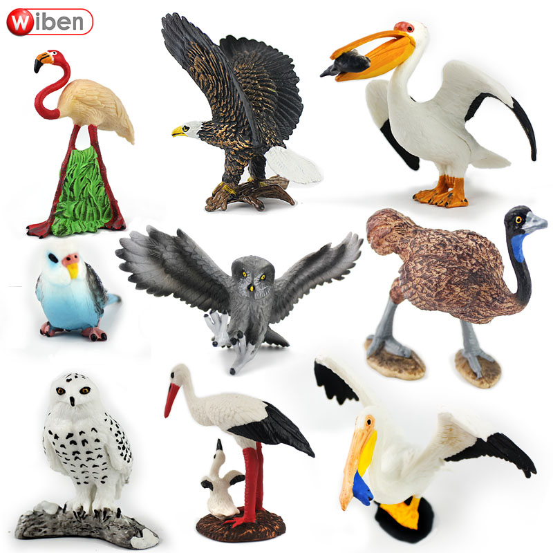 Wiben Aves Pelican Bald Eagle Snowy Owl Common Ostrich Parrot Animal model Action Toy Figures Learning Education Birds Gifts wiben animal hand puppet action
